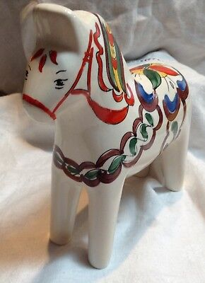 Vintage Hand Painted For Scandia Porcelain Dala Horse Made In Brazil In GUC