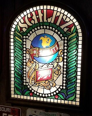 LARGE Vintage Schlitz Beer Stained Glass Style Globe Lighted Plastic Sign