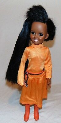 """Vintage 1973 Ideal 18"""" Crissy African American Doll Used With Clothing Works AA"""