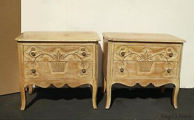 Pair Vintage French Country Nightstands w White Wash by Davis Fine Furniture