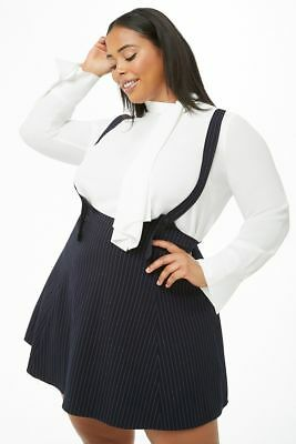 4016e91db09 FOREVER 21 NAVY White Plus Size Pinstriped Pinafore Dress 2X ...