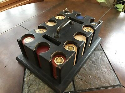 Vintage Set Clay Poker Chips in Wood Caddy 290 Inlay Chips Red White Blue RARE!!