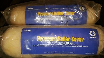 """2 Graco Pressure Roller Cover # 186946  12"""" X  11/4"""" nap   FREE SHIP"""