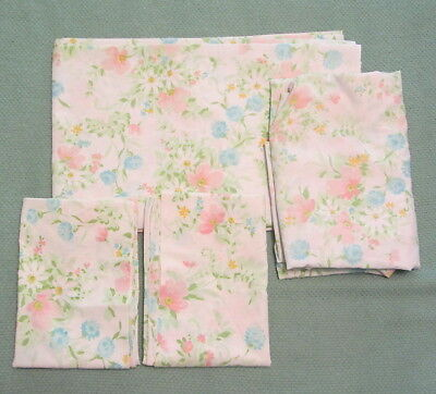 Vtg FULL Sheet FITTED FLAT & CASES Pink Blue Floral Flowers Sheets JC Penney