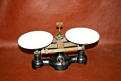 "Antique English Style Cast Iron Working Balance Scale w/ 6"" Milk Glass Trays"