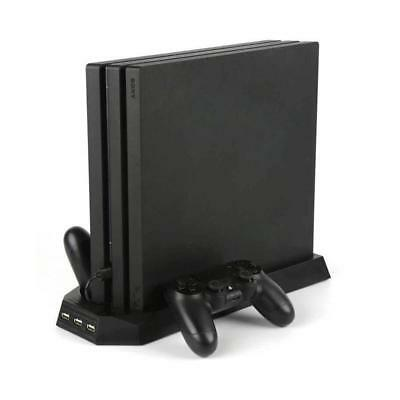 For PS4 Pro Cooling Fans Station Vertical Stand w/ 2 Controller Charging Dock JS