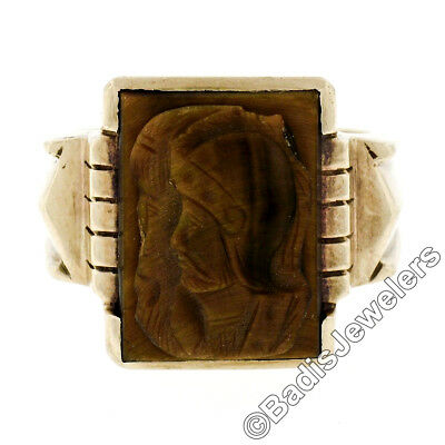 Men's Antique Victorian Wide Solid 10K Yellow Gold Carved Cameo Tiger's Eye Ring