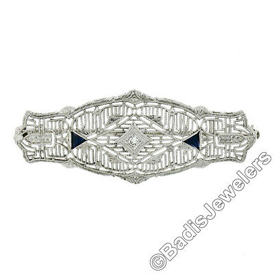 Antique Art Deco 14k Gold Diamond Sapphire Detailed Filigree Milgrain Pin Brooch