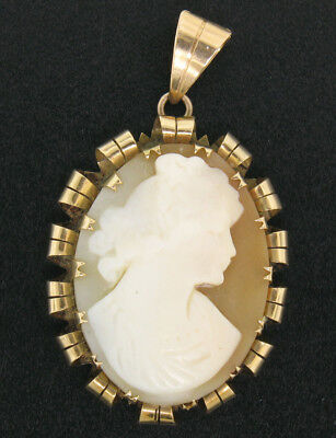 Antique Victorian 14k Gold Hand Carved Shell Oval Cameo Pendant w/ Curled Frame
