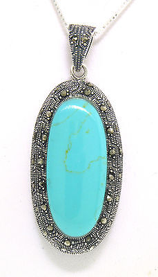 Marcasite Sterling Silver Large Elongated Oval Turquoise Pendant With Chain