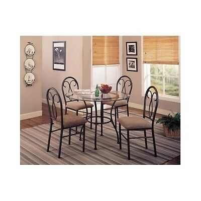 Dining Room Table Kitchen Set Chairs Dinette Furniture Beveled Glass Top 5-Piece