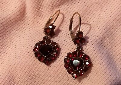 Vtg Antique Victorian Gold Gilt Sterling Silver Bohemian Garnet Heart Earrings