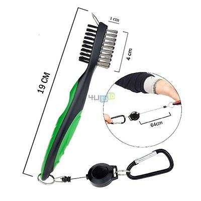 Golf Brush+Club Groove Cleaner 2 Ft Retractable Zip-line Carabiner Cleaning Tool