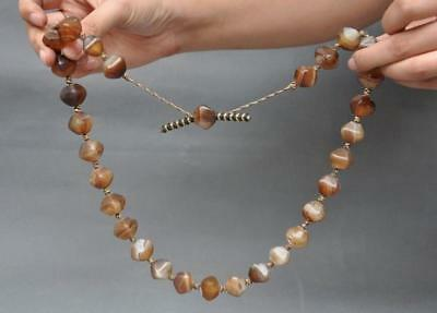 Rare Old Tibet natural agate Carved irregular Bead Prayer Beads amulet necklace