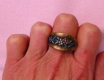Vintage Antique Chinese Repousse Brass Enamel Flower Wide Band Ring Size 10 Adj