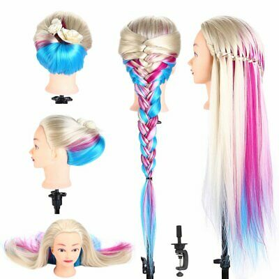 """Hairdressing Training Head Clamp 26"""" Colorful Hair Mannequin Practice Doll"""