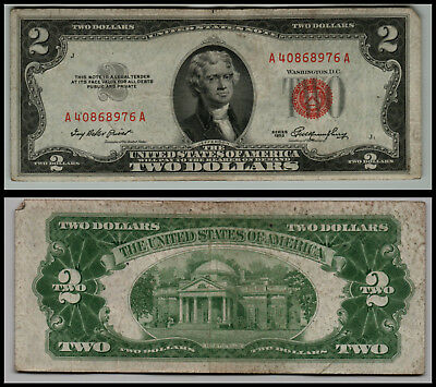1953 $2 Dollar  Us Note Legal Tender Paper Money Currency Red Seal Lt-G746
