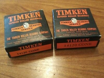 2 Timken 14120 Cone Tapered Roller Bearings SEALED IN BOX NOS