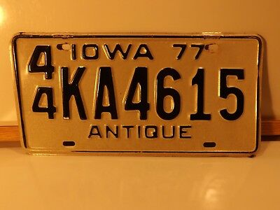 """Matched Pair State Of Iowa """"antique"""" License Plates - # 44 Ka 4615  Expired 1977"""