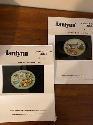 Janlynn Wildrose Cove &Primrose Church Counted Cross Stitch Kits w/ Frames-1989