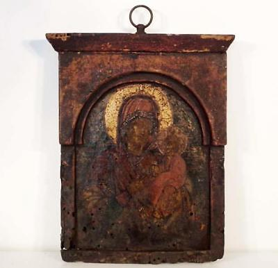 Antique Greek Orthodox Icon Mother of God Hodegetria 17th-18th Century Greece