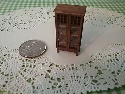 Quarter Scale, 1/4, 1:48 Mission Style Cabinet Real Glass Doors Handcrafted