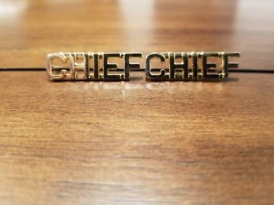 "CHIEF Gold 3/8"" Lettering Pair Collar Pins Insignia police/fire/Security"