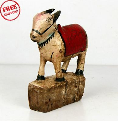 Indian Old Antique Hand Carved Polychrome Wooden Holy Cow Nandi Figurine 10365