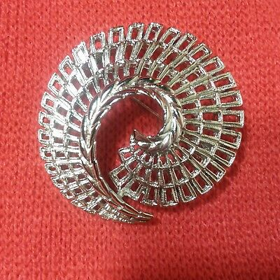 Sarah Coventry Vintage Spiral Silver Tone Brooch Pin Excellent Condition