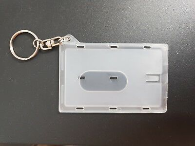 Hard Plastic Hard ID Card Badge Holder With Keyring Office Key *50 Pack* NEW