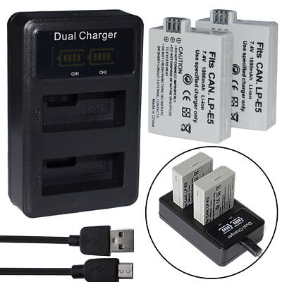 Battery / charger For For Canon LP-E5 LPE5 EOS 450D 500D 1000D Kiss X2 X3 T1i