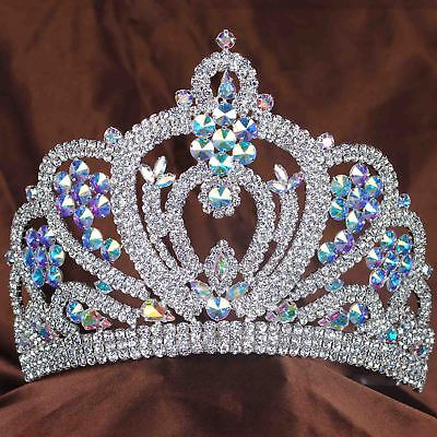 "Large 6"" Tiara Crown AB Crystal Wedding Headpiece Rhinestone Beauty Pageant Prom"