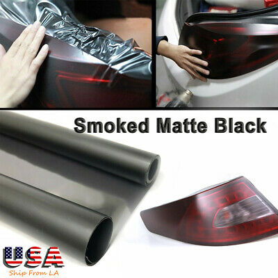 Smoked Black Tint Vinyl Film Overlay Wrap Sheet for Headlight Fog Lamp 12x48