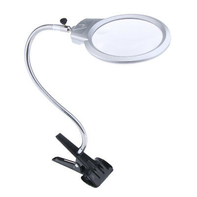 Lovoski 2x 5x Lighted Table Top Desk Magnifier Magnifying Glass with Clip