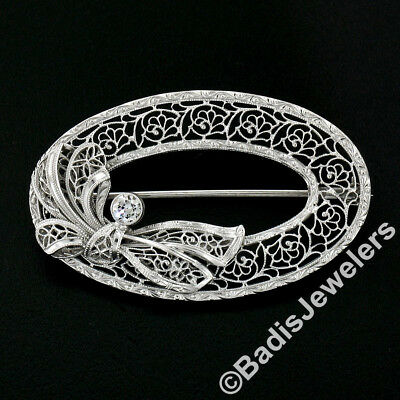 Antique Art Deco Krementz 14K Gold Diamond Filigree Milgrain Wreath Brooch Pin