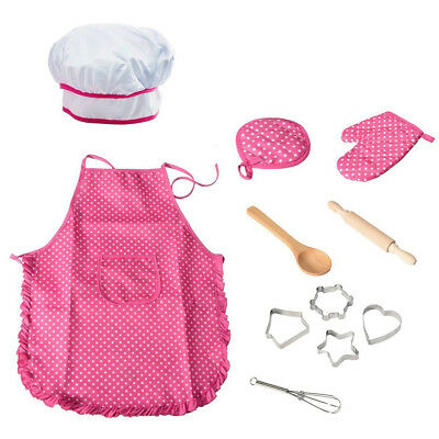11 Pcs Kids Kitchen Cooking Play Set Apron for Girls Chef Hat  Role Play Games