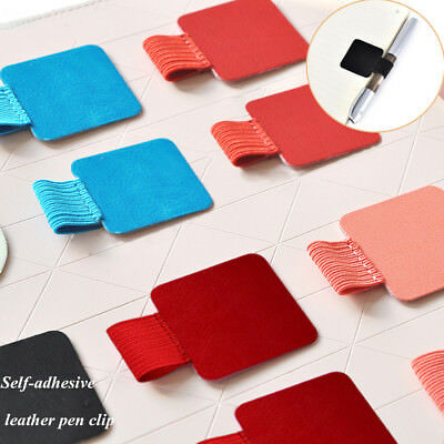 4X Leather Self-adhesive Pen Clip Pencil Elastic Loop for Notebooks Pen Holder-
