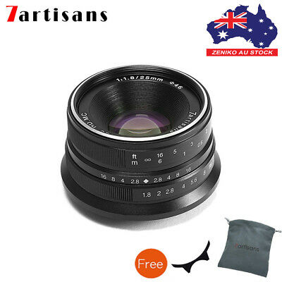 AU 7artisans 25mm F1.8 Mirrorless Camera Manual Fixed Lens F Sony E Mount Black