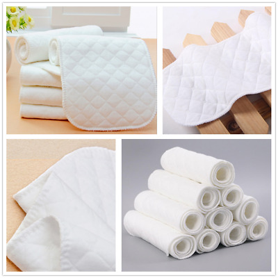 1/5/10X Unisex Reusable Baby Cloth Diaper Nappy Liner insert 3 Layer Soft Cotton