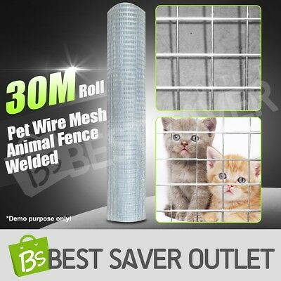 30M Galvanised Welded Wire Mesh Graden Animal Fence Chicken Coop Aviary Fencing