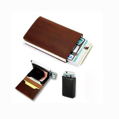 Genuine Leather Purse Credit Card Holder Money Cash Clip Wallet RFID Blocking