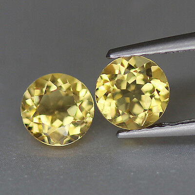 0.96 (TCW)-Golden Yellow Hue-Round Cut-Brazil Natural-Beryl Pair-GQ217