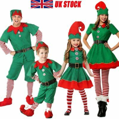 UK Adult Kids Christmas Elf Fancy Dress Costume Xmas Cosplay Perform Costumes
