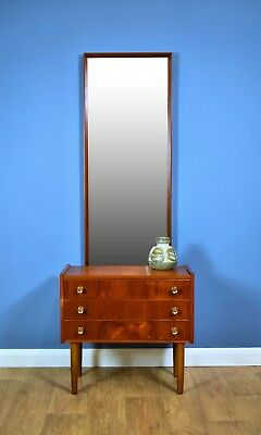 Mid Century Retro Danish Teak Hall Console Chest and Matching Mirror 3 Drawers