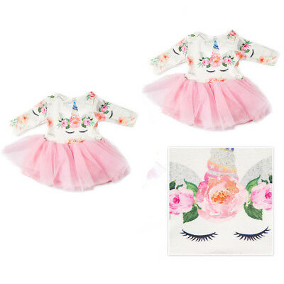 "Xmas UNICORN Tulle Dress Clothes For 18"" Girl Doll Gifts"