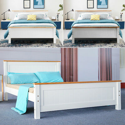 Strong Solid Pine Wooden Oak Top Bed Frame Single / Double / King Size Bedroom