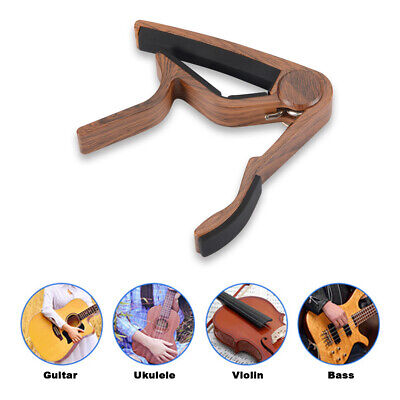 Wooden Finish Clamp Capo with Silicone Pad for Acoustic Guitar Ukelele TH1032