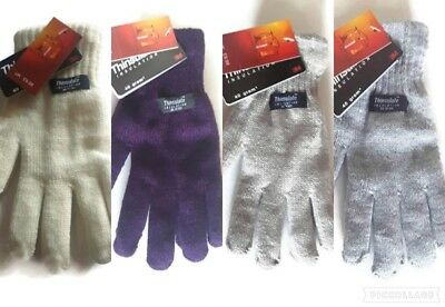 Ladies Mens Thermal THINSULATE Warm Winter Gloves Knitted Wooly 3M Colour UK NEW