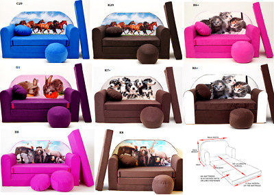 Kids Sofa Bed Sleepover Futon Cotton Cover With Footstool Cushions