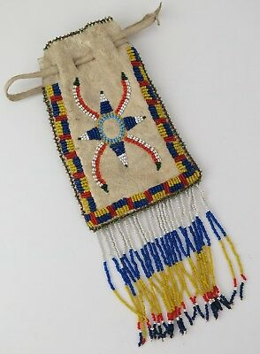 Native American Indian Apache beaded pouch. PROVENANCE